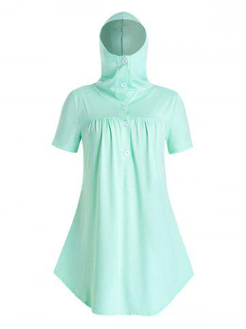 Plus Size Face Protective Hooded Curved Tunic Tee