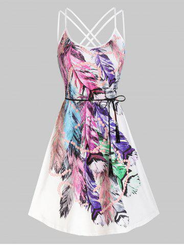Strappy Feather Print Belted Dress