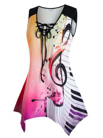 Plus Size Handkerchief Musical Notes Ombre Tank Top