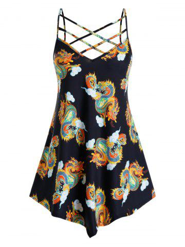 Plus Size Dragon Print Oriental Caged Asymmetric Cami Top - BLACK - 1X