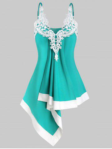 Lace Applique Irregular Cami Tank Top - TURQUOISE - L