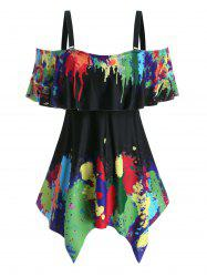 Plus Size Handkerchief  Splatter Paint Two Piece Swimwear -