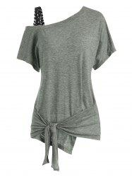 Guipure Panel Skew Neck Tied T-shirt -