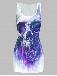 Skull and Flower Print Tank Top -