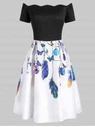 Scalloped Butterfly Feather Print Off Shoulder Dress -