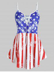 Plus Size Patriotic American Flag Lace Up Cami Top -
