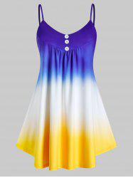Plus Size Dip Dye Mock Button Cami Top -