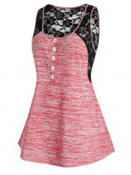 Plus Size Space Dye Lace Panel Tank Top -