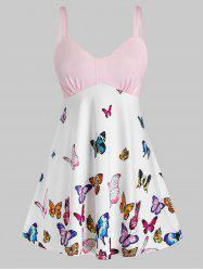 Plus Size Butterfly Print Empire Waist Backless Tank Top -