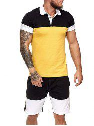 Colorblock Half Button T Shirt And Drawstring Casual Shorts Set -