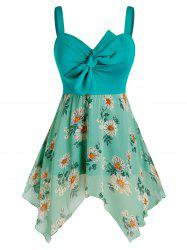 Plus Size Bowknot Flower Print Handkerchief Backless Tank Top -