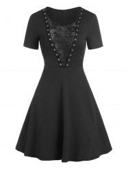 Floral Lace Panel O Ring Gothic Dress -