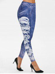 Skull 3D Print Tapered Skinny Leggings -