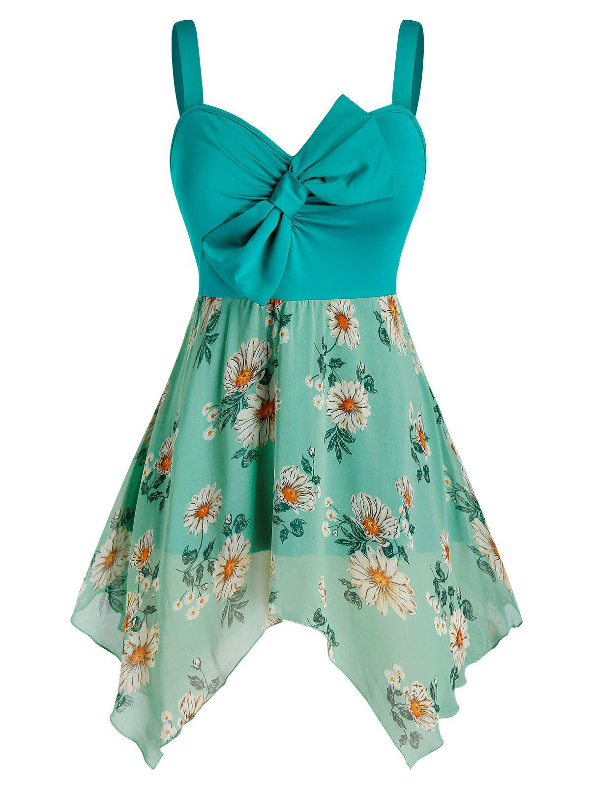 Fashion Plus Size Bowknot Flower Print Handkerchief Backless Tank Top