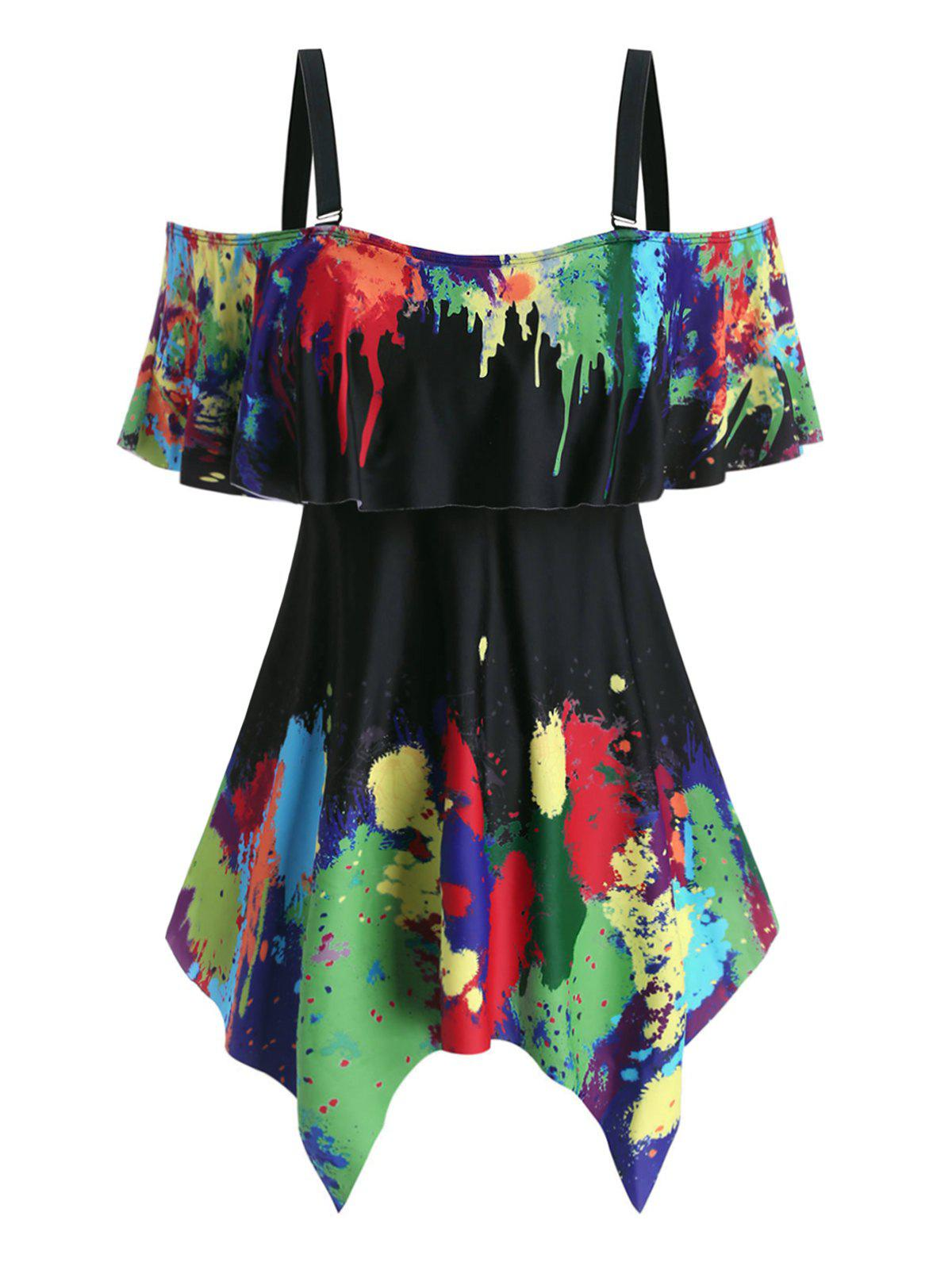 Best Plus Size Handkerchief  Splatter Paint Two Piece Swimwear