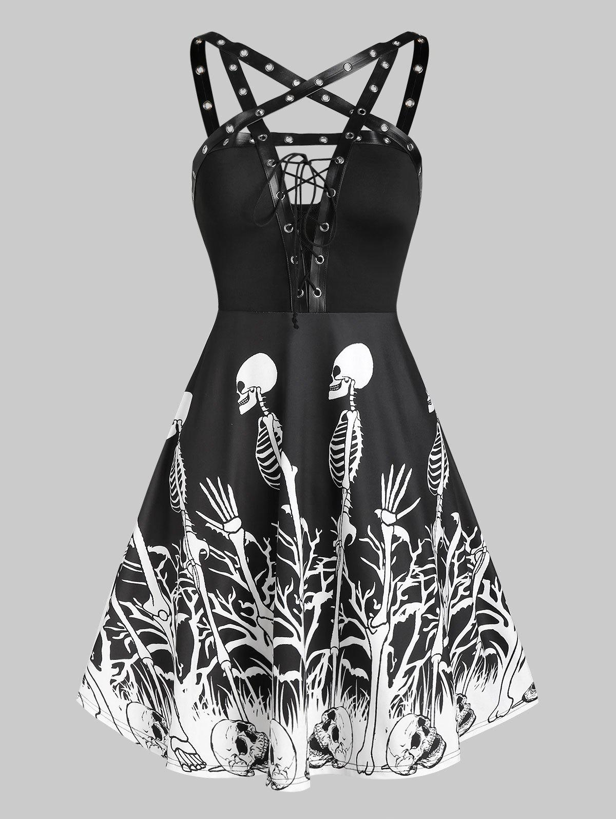 Store Skeleton Print Grommet Lace Up Cami Dress