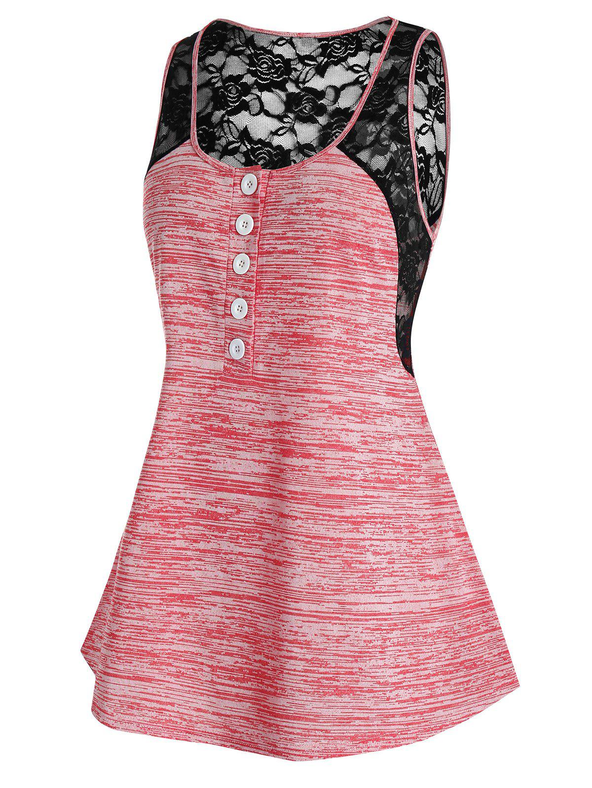 Affordable Plus Size Space Dye Lace Panel Tank Top