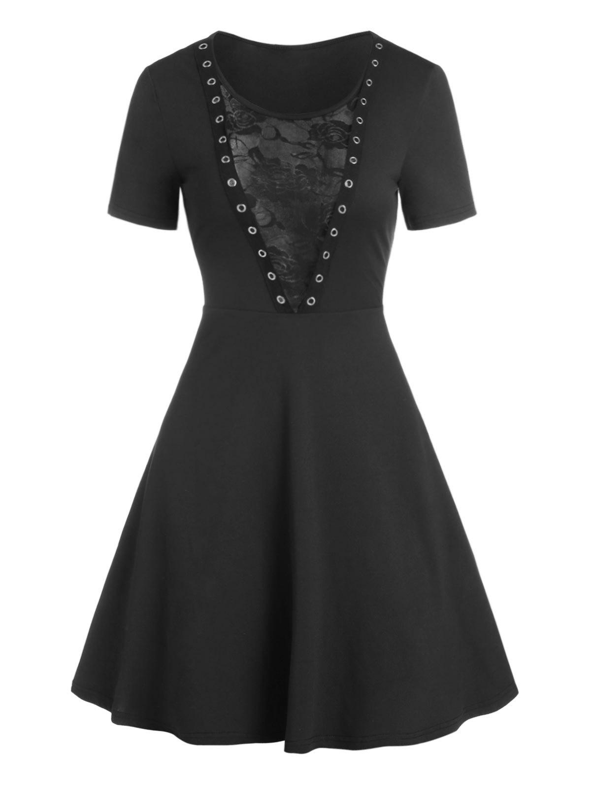 Outfit Floral Lace Panel O Ring Gothic Dress