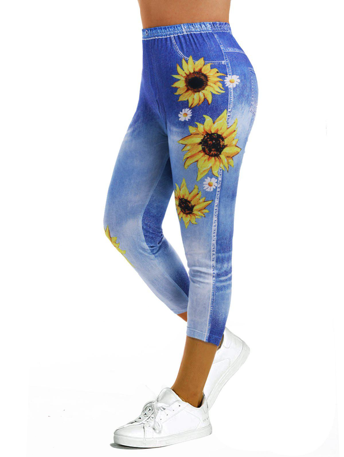 Outfits Sunflower 3D Print Crop Jeggings