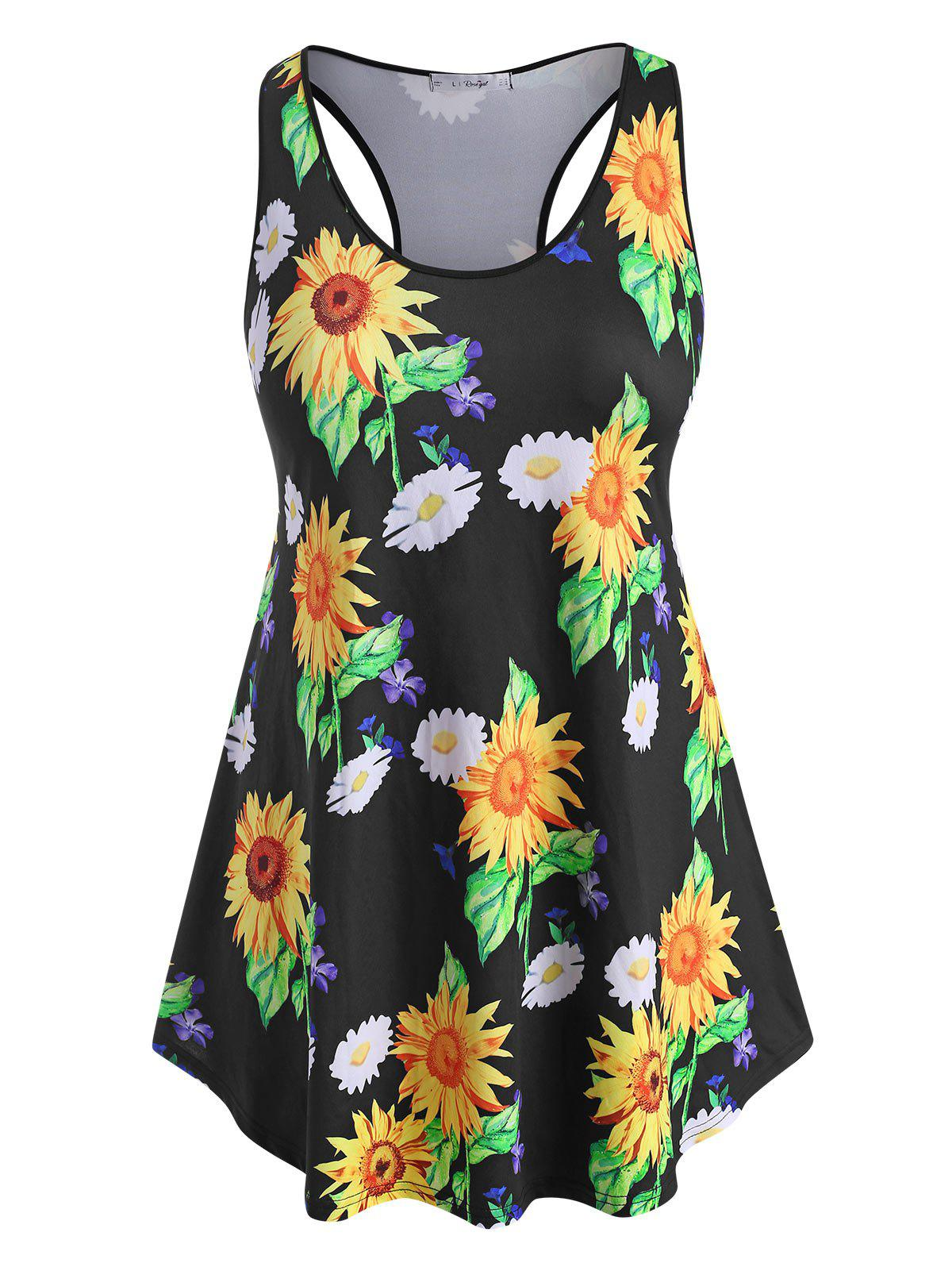 Affordable Racerback Curved Hem Sunflower Plus Size Tank Top