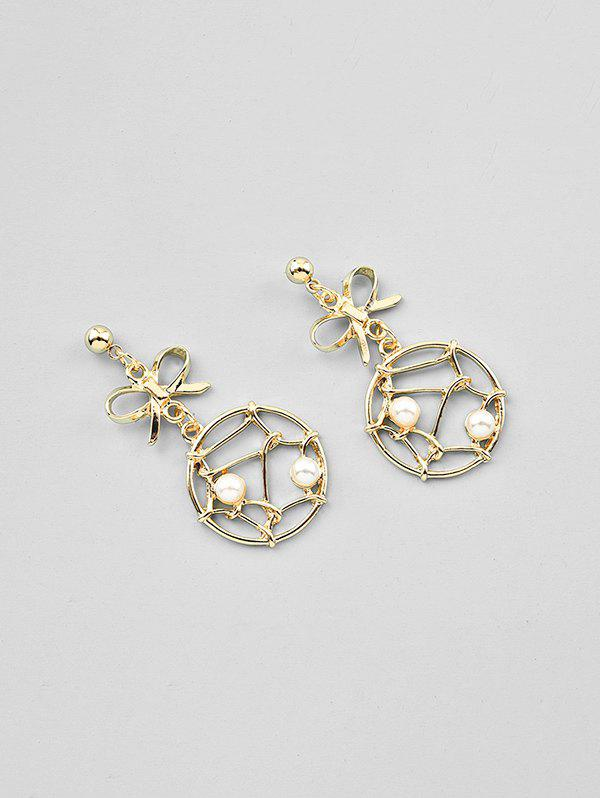 Bowknot Dreamcatcher Hollow Out Faux Pearl Earrings, Gold