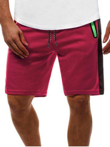 Contrast Color Zip Pockets Casual Shorts - RED - 2XL