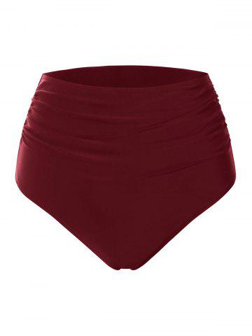 Ruched Solid High Waisted Bikini Bottom - RED WINE - S