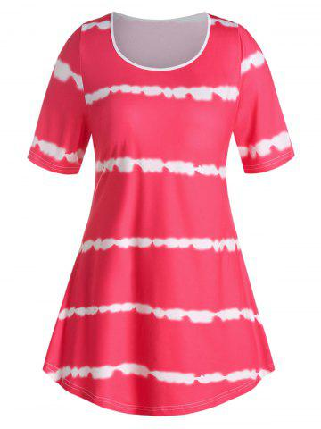 Plus Size Curved Tie Dye Tee - ROSE RED - 2X