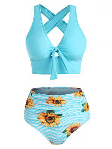 Sunflower Zig Zag Tied Criss Cross Tankini Swimwear