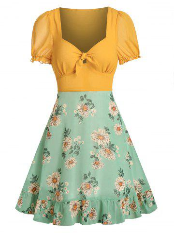 Knot Front Floral Print Chiffon Dress