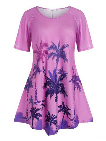 Plus Size Palm Tree Print Raglan Sleeve T Shirt - PURPLE FLOWER - 4X