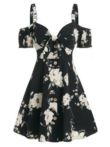Floral Print Cold Shoulder Mock Button Dress