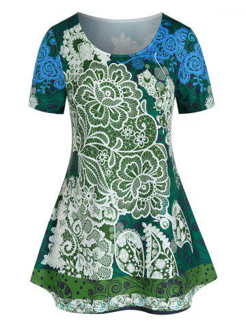 Plus Size Paisley Floral Print Tunic T Shirt - DARK FOREST GREEN - 5X