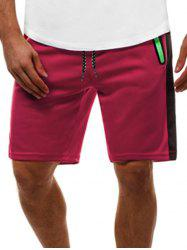 Contrast Color Zip Pockets Casual Shorts - Rouge XL