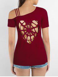 Cut Out Heart Pattern Cold Shoulder T-shirt -