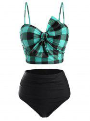 Plaid Bowknot High Rise Tankini Swimwear -