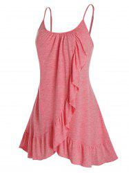 Plus Size Overlap Flounce Backless Tunic Cami Top -