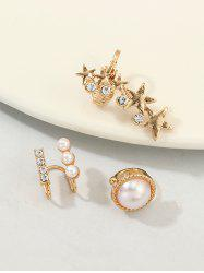 3Pcs Stars Faux Pearl Rhinestone Cuff Earrings Set -
