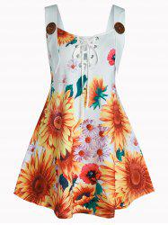 Plus Size Sunflower Print Lace Up Tank Top -