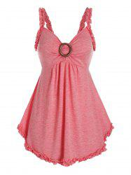 Plus Size Lettuce Frilled Sweetheart Neck Backless Tunic Tank Top -