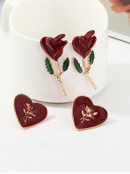 Rose and Heart Shape Earrings Set -