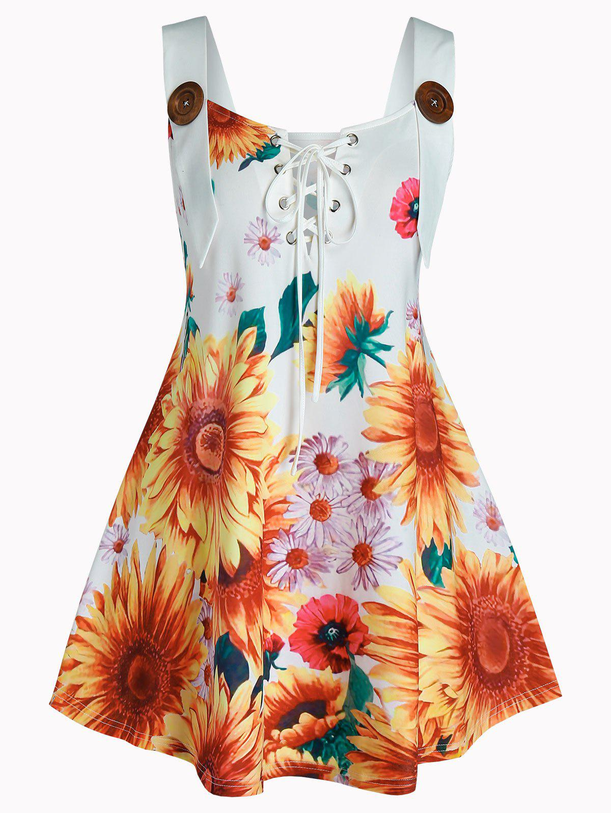 Best Plus Size Sunflower Print Lace Up Tank Top
