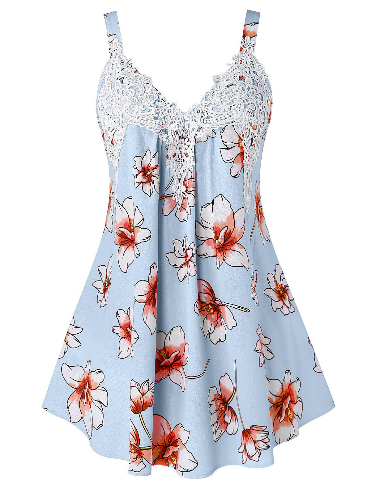 Affordable Plus Size Lace Panel Flower Print Tank Top