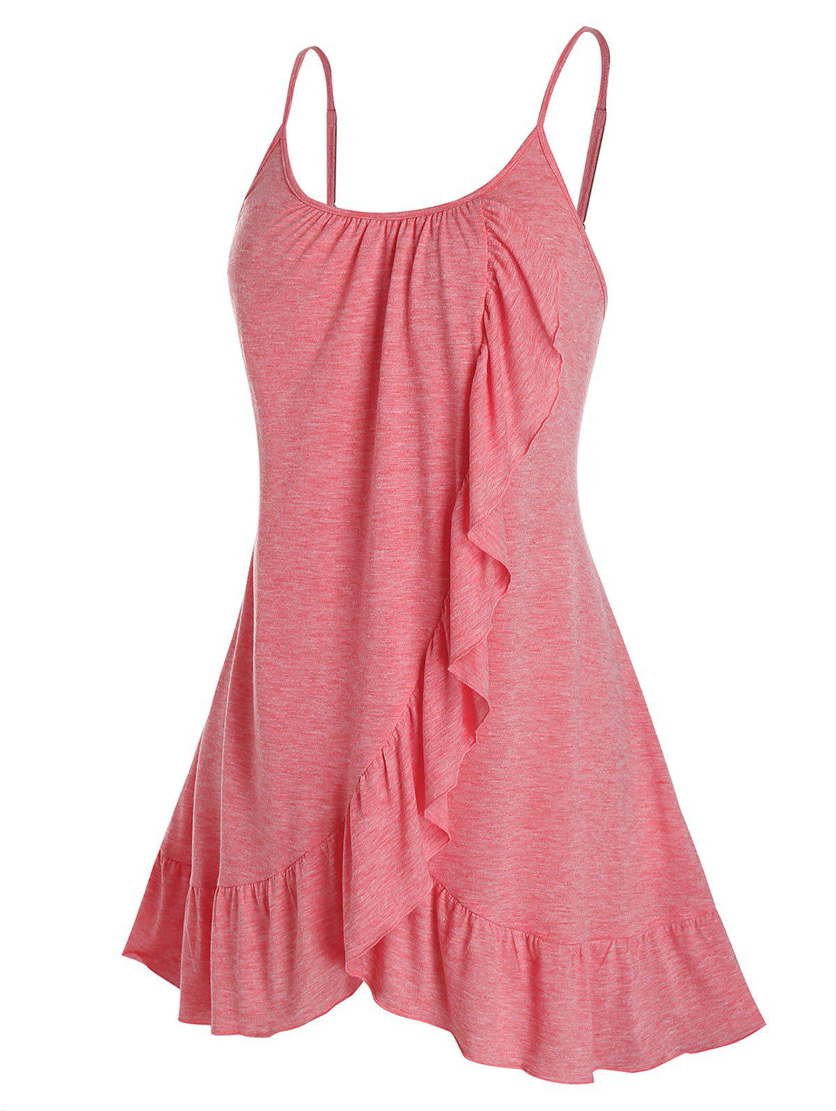 New Plus Size Overlap Flounce Backless Tunic Cami Top