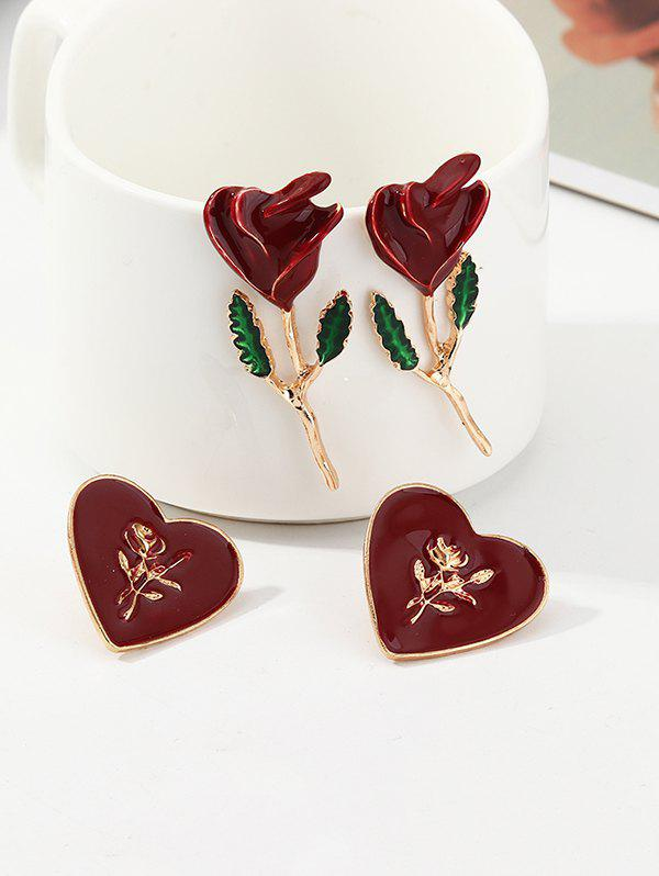 Store Rose and Heart Shape Earrings Set