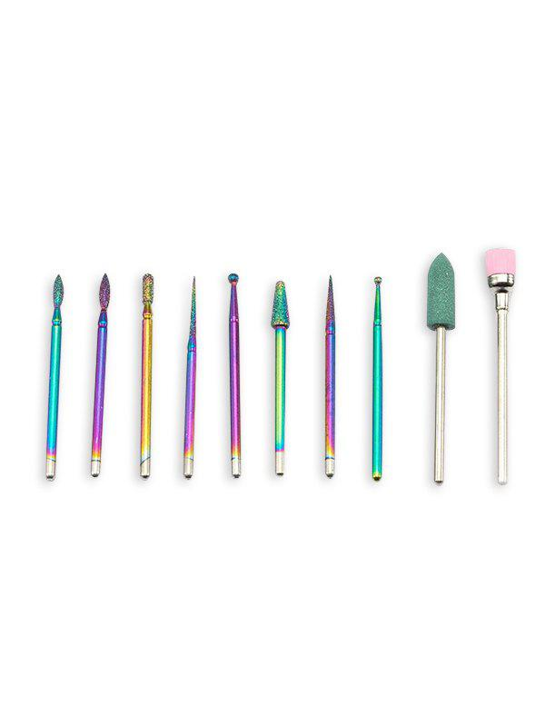 Outfits 10Pcs Colorful Nail Drill Grinding File Bits