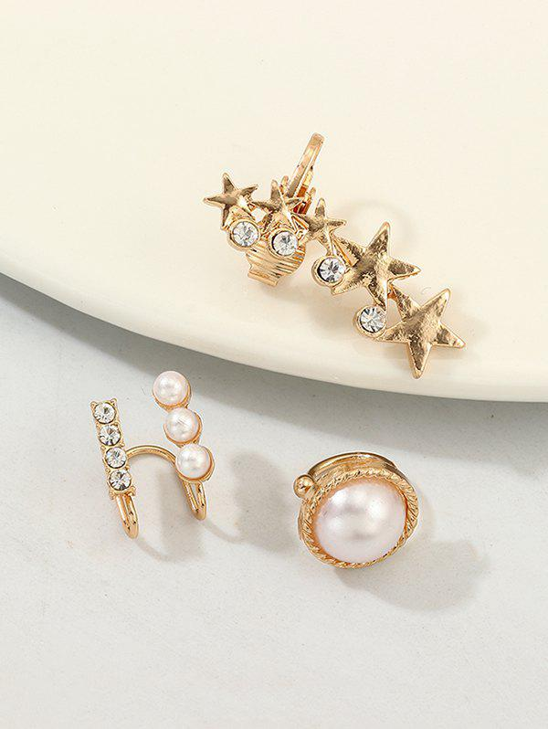 Store 3Pcs Stars Faux Pearl Rhinestone Cuff Earrings Set