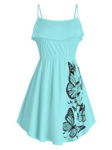Ruffled Butterfly Print Cami Top - CORAL BLUE - 4X