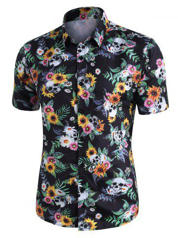 Skull Ditsy Floral Button Up Casual Shirt - MULTI - M