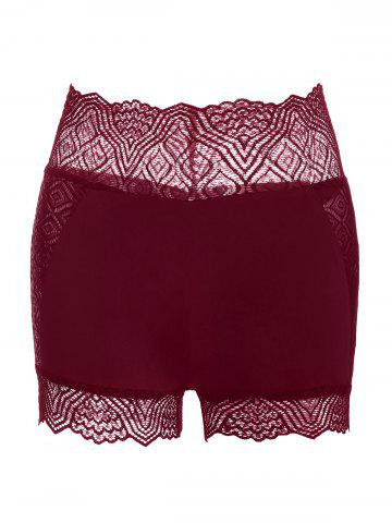 Lace Insert Stretch Short Leggings - RED WINE - S